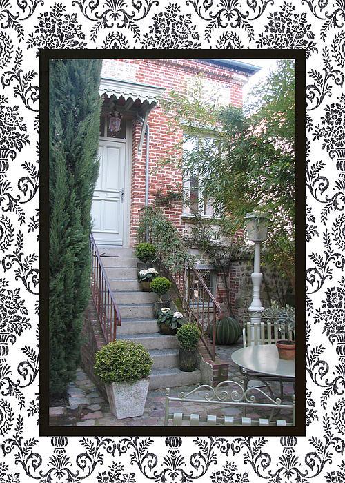 Carla Parris - Honfleur Courtyard with border