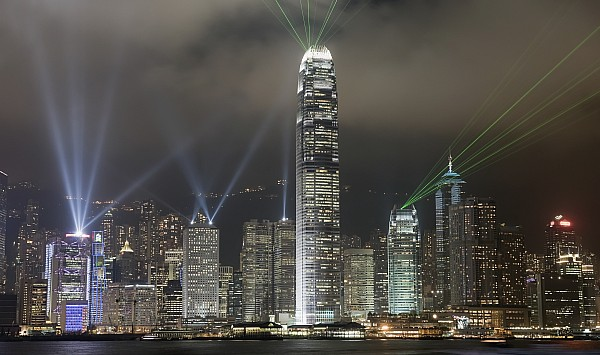 Hong Kong Light Show, At Night, Over Print by Axiom Photographic