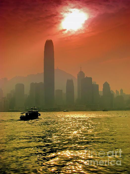 Hong Kong Sunset Print by Bibhash Chaudhuri