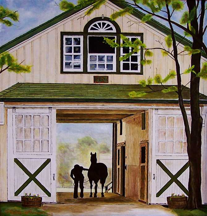 horse barn painting by michael lewis horse barn fine art prints horse barn 669x700