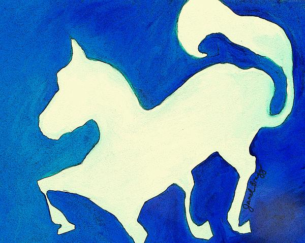 Horse In Blue And White Print by Janel Bragg