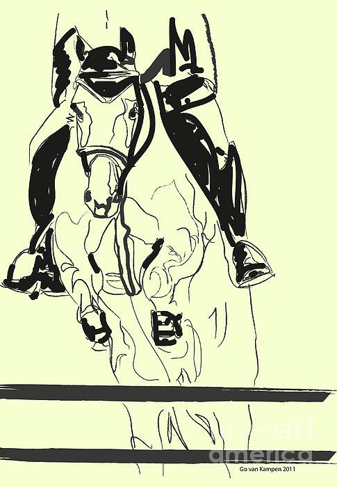 Horse-jumping Print by Go Van Kampen