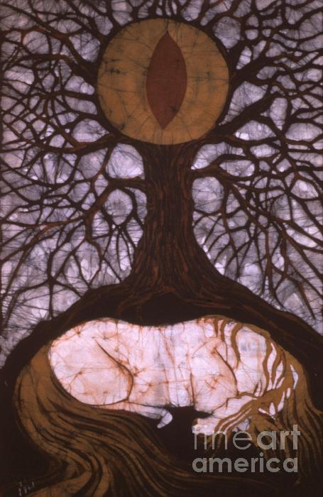 Horse Sleeps Below Tree Of Rebirth Tapestry - Textile  - Horse Sleeps Below Tree Of Rebirth Fine Art Print