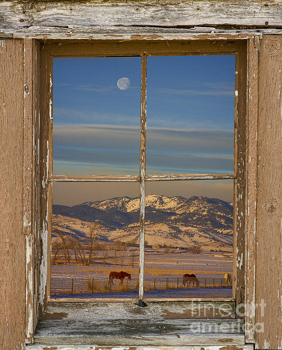 James BO  Insogna - Horses and Moon Rustic Farm Window View