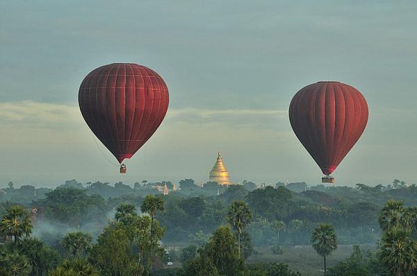 Hot Air Balloons Over Bagan In Myanmar Print by Huang Xin
