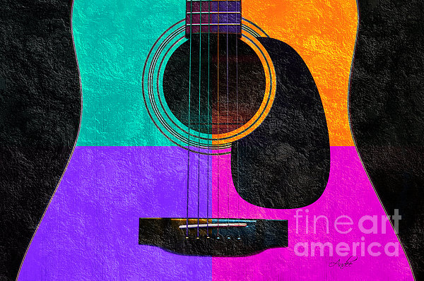 Hour Glass Guitar 4 Colors 2 Print by Andee Design