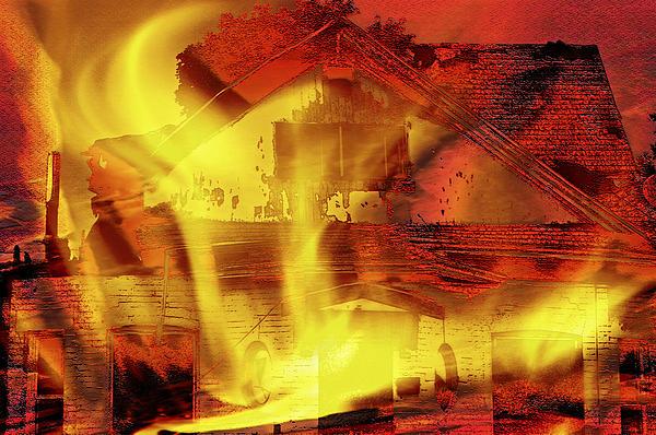 House Fire Illustration 2 Print by Steve Ohlsen
