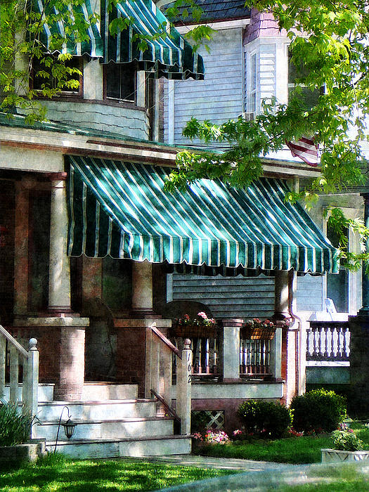 House With Green Striped Awnings Print by Susan Savad
