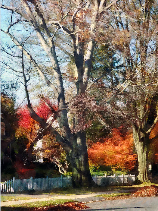House With Picket Fence In Autumn Print by Susan Savad