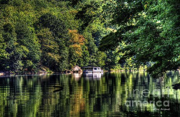 Houseboat On Lake Print by Dan Friend