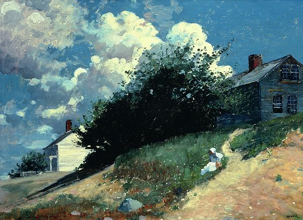 Houses On A Hill Print by Winslow Homer