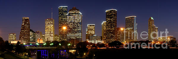 Houston Skyline At Night Print by Jon Holiday
