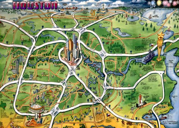 Houston Texas Cartoon Map By Kevin Middleton