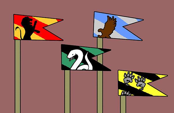 Hp House Flags Print by Jera Sky