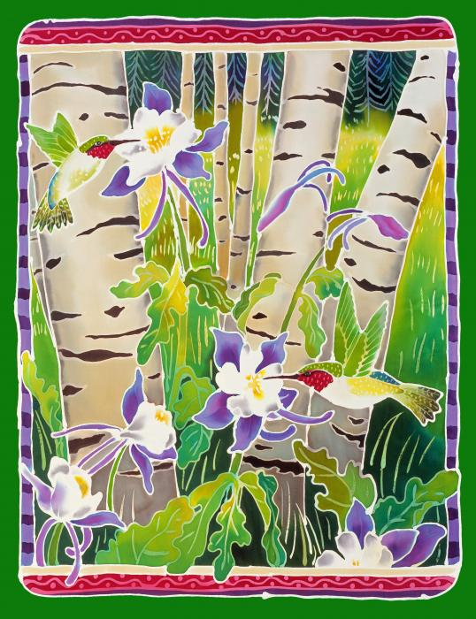 Hummingbirds In The Aspen Print by Harriet Peck Taylor