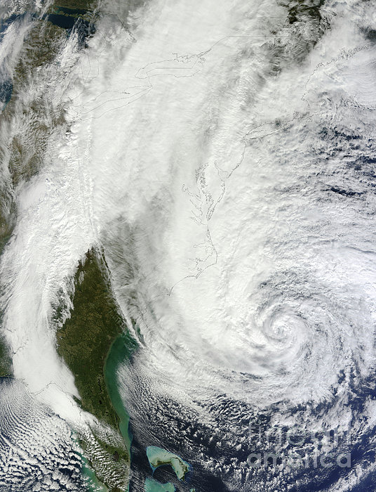 Hurricane Sandy Off The Southeastern Print by Stocktrek Images