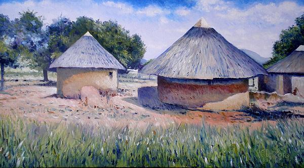 Huts At Pelegano Botswana 2008 Print by Enver Larney
