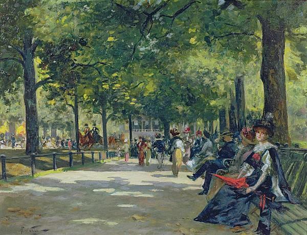 Hyde Park - London  Print by Count Girolamo Pieri Nerli