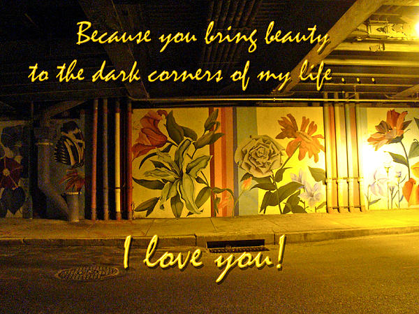 Mother Nature - I Love You Night Graffiti Greeting Card