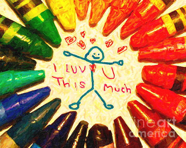 I Luv U This Much Print by Wingsdomain Art and Photography