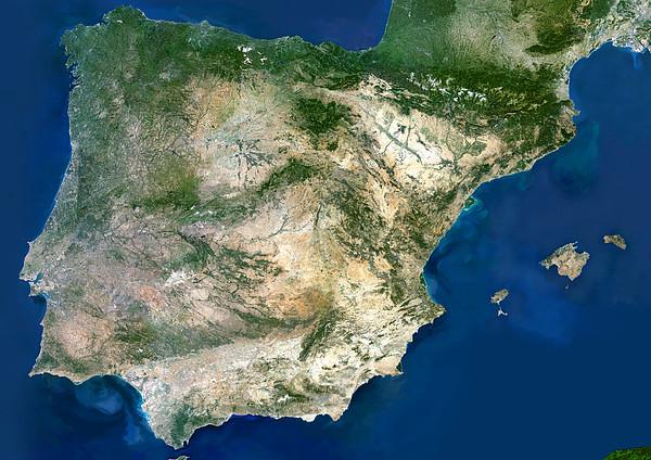 Iberian Peninsula, Satellite Image Print by Planetobserver