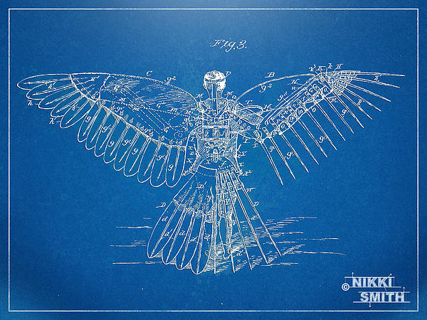 Icarus Human Flight Patent Artwork Print by Nikki Marie Smith