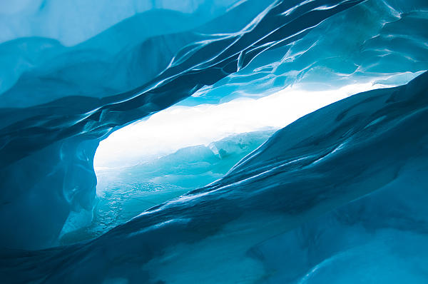Ice Cave On The Glacier Print by John White