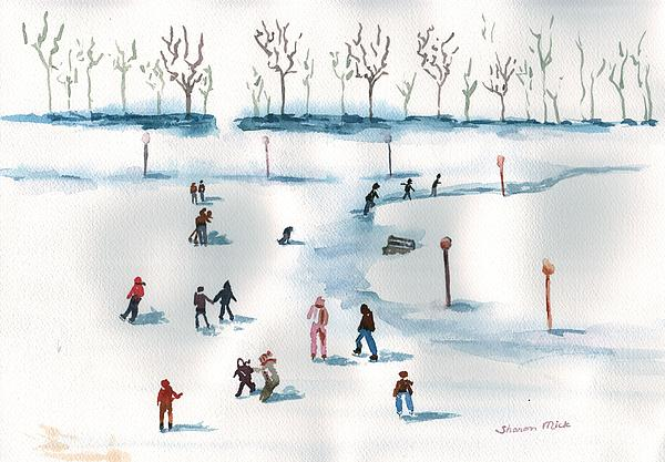 Sharon Mick - Ice Skating on the Pond
