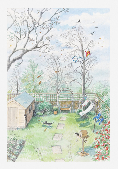 Illustration Of A Garden As A Storm Is Developing Print by Dorling Kindersley