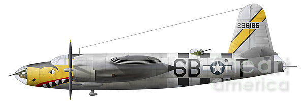 Illustration Of A Martin-b-26 Marauder Print by Chris Sandham-Bailey