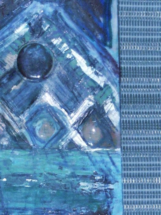 Impressionistic Blues With Buttons Print by Anne-Elizabeth Whiteway