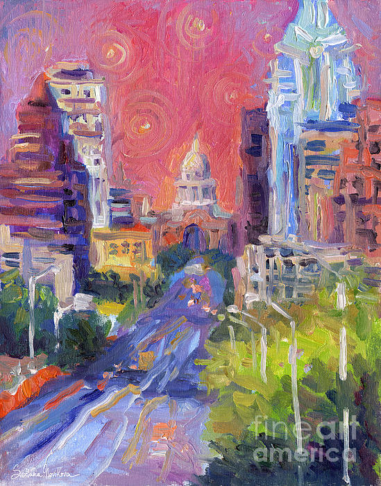 Impressionistic Downtown Austin city painting Painting