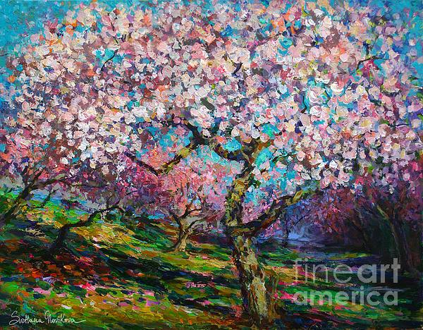 Impressionistic Spring Blossoms Trees Landscape Painting Svetlana Novikova Print by Svetlana Novikova