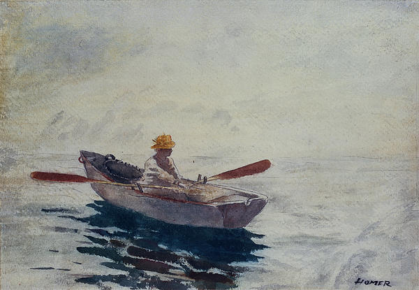 In A Boat Print by Winslow Homer