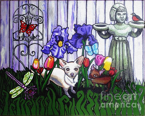 In The Chihuahua Garden Of Good And Evil Print by Genevieve Esson