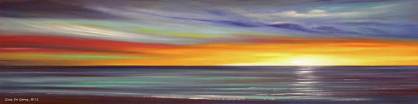 In The Moment Panoramic Sunset Print by Gina De Gorna