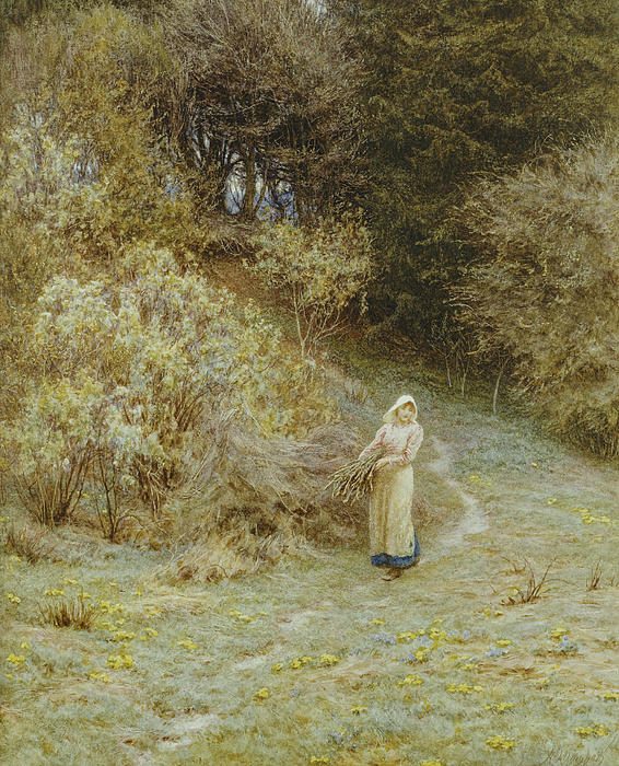 In The Primrose Wood Print by Helen Allingham