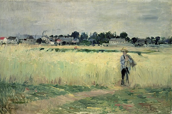 In The Wheatfield At Gennevilliers Print by Berthe Morisot