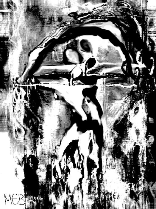 Indalo Blanco Y Negro Print by Melanie Bourne