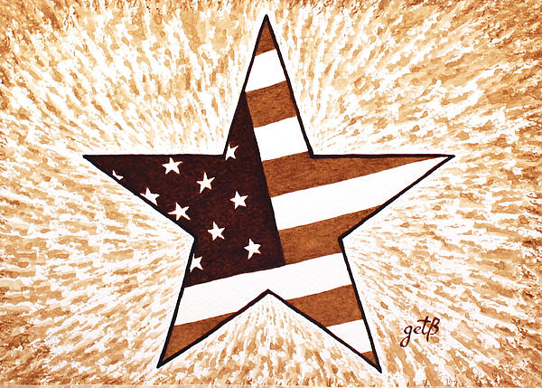 Independence Day Star Usa Flag Coffee Painting Print by Georgeta  Blanaru