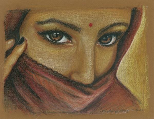 India Woman Print by Linda Nielsen