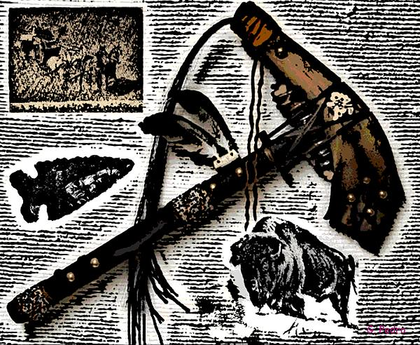 Indian Buffalo Jawbone Tomahawk Print by George Pedro
