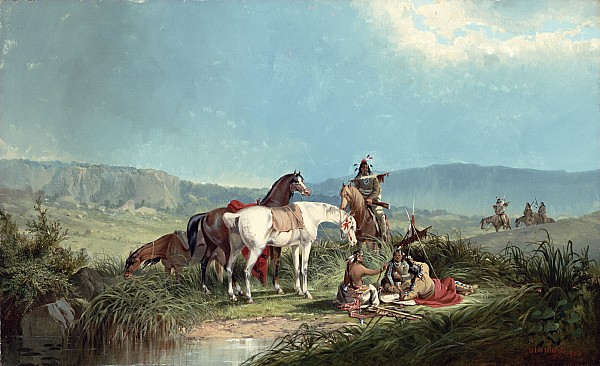 Indians Playing Cards Print by John Mix Stanley