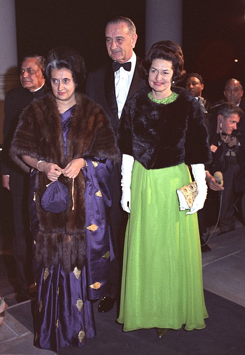 Indira Gandhi With President And Lady Print by Everett