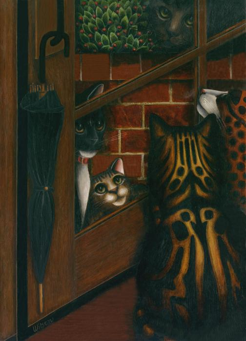 Inside Outside Cats Print by Carol Wilson