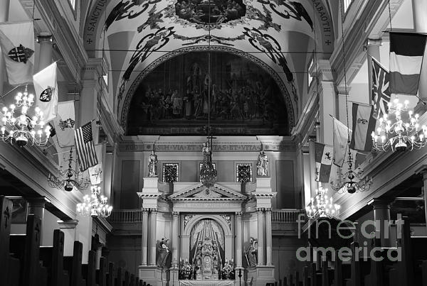 Inside St Louis Cathedral Jackson Square French Quarter New Orleans Black And White Print by Shawn O'Brien