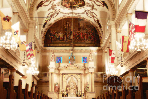 Inside St Louis Cathedral Jackson Square French Quarter New Orleans Diffuse Glow Digital Art Print by Shawn OBrien