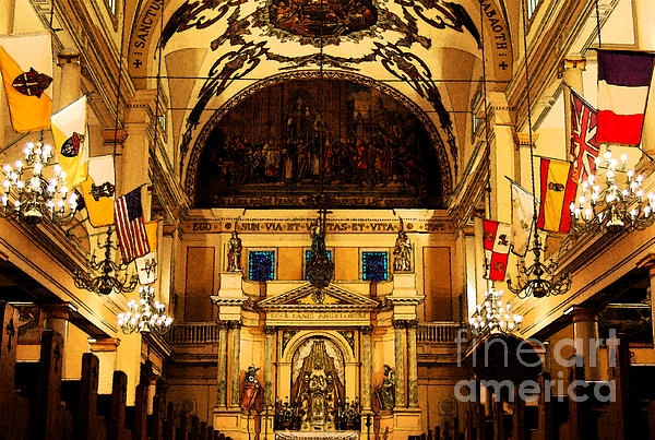 Inside St Louis Cathedral Jackson Square French Quarter New Orleans Fresco Digital Art Print by Shawn O'Brien