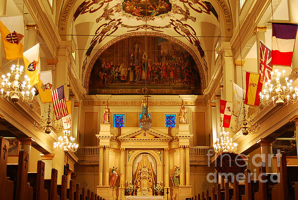 Inside St Louis Cathedral Jackson Square French Quarter New Orleans Print by Shawn O'Brien