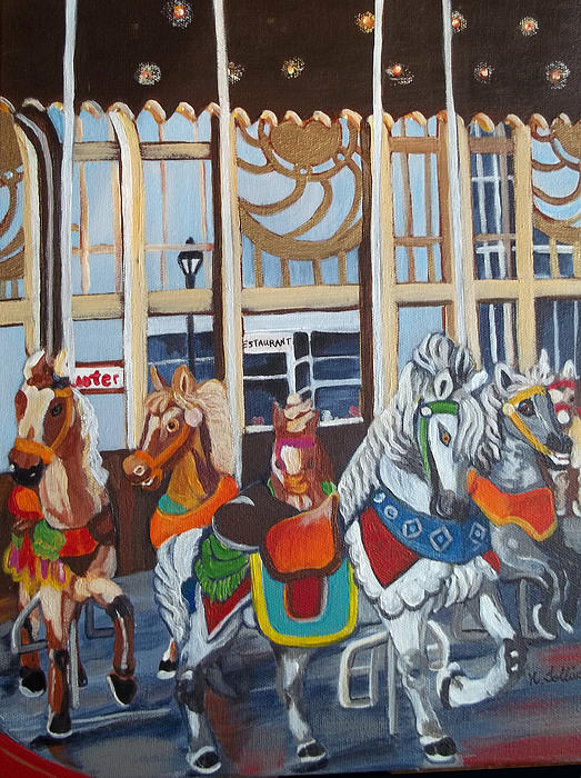 Inside The Carousel House Print by Norma Tolliver